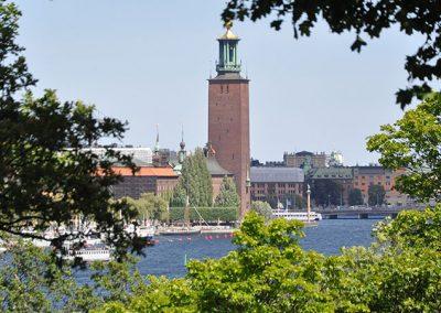 Vy från Långholmen mot stadshuset